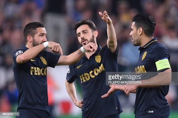 Monaco's Portuguese midfielder Joao Moutinho speaks with teammates Monaco's Portuguese midfielder Bernardo Silva and Monaco's Colombian forward...