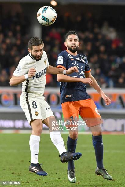 Monaco's Portuguese midfielder Joao Moutinho vies with Montpellier's French midfielder Ryad Boudebouz during the French L1 football match between...