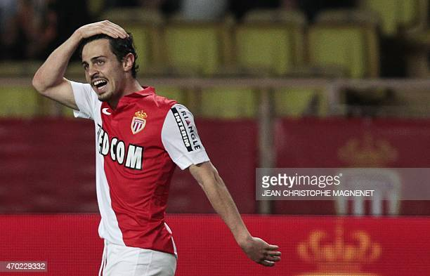 Monaco's Portuguese midfielder Silva Bernardo celebrates after scoring during the French L1 football match Monaco vs Rennes at the Louis II Stadium...