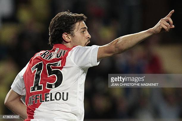 Monaco's Portuguese midfielder Silva Bernardo celebrates after scoring a goal during the French L1 football match Monaco vs Metz on May 16 at the...