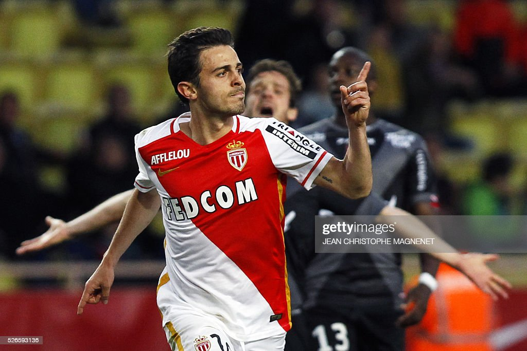 Monaco's Portuguese midfielder Silva Bernardo celebrates after scoring a goal during the French L1 football match Monaco (ASM) vs Guingamp (EAG) on April 30, 2016, at the Louis II stadium in Monaco.