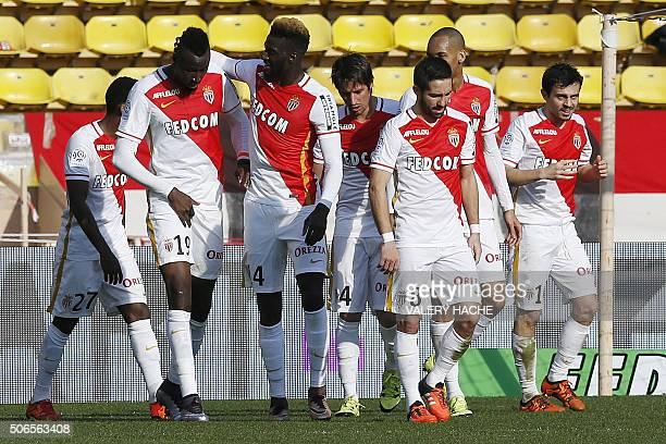 Monaco's Portuguese midfielder Silva Bernardo celebrates with teammates after scoring a goal during the French L1 football match Monaco vs Toulouse...