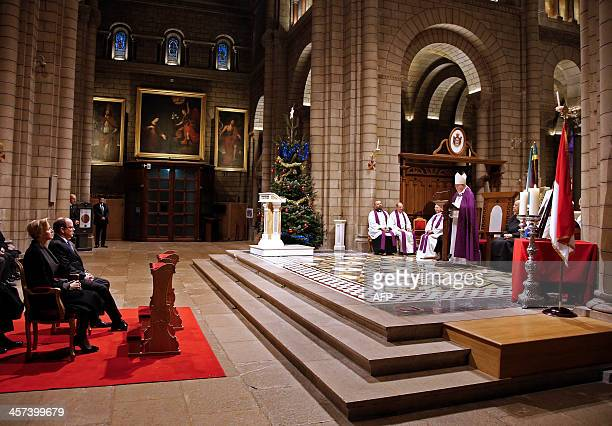 Monaco's Prince Albert II and his wife Princess Charlene attend an ecumenical mass in memory of late South African president Nelson Mandela at the...