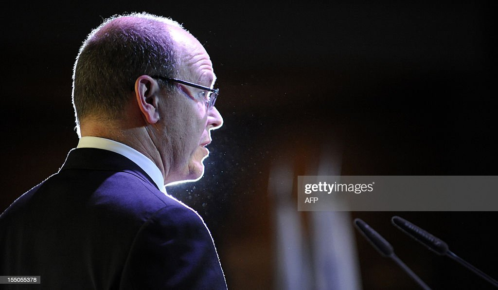 Monaco's Prince Albert II delivers a speech at 'Peace and Sport forum in Krasnya Polyana outside Sochi on October 31, 2012