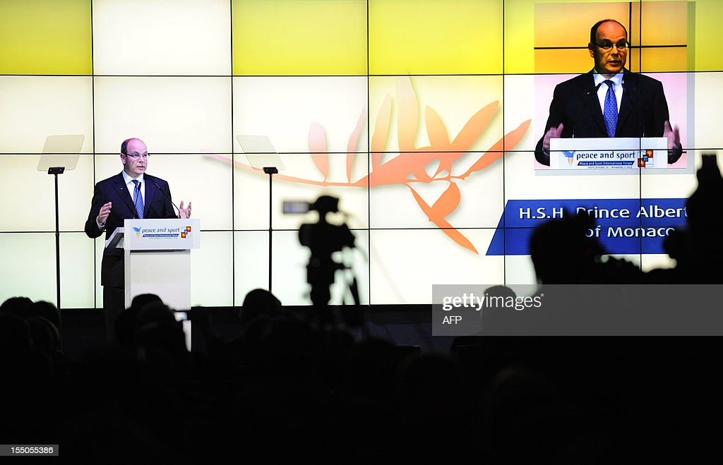Monaco's Prince Albert II delivers a speech at 'Peace and Sport forum in Krasnya Polyana outside Sochi on October 31, 2012. The 2014 Winter Olympic Games will be the biggest international event hosted by Russia since the collapse of the Soviet Union.