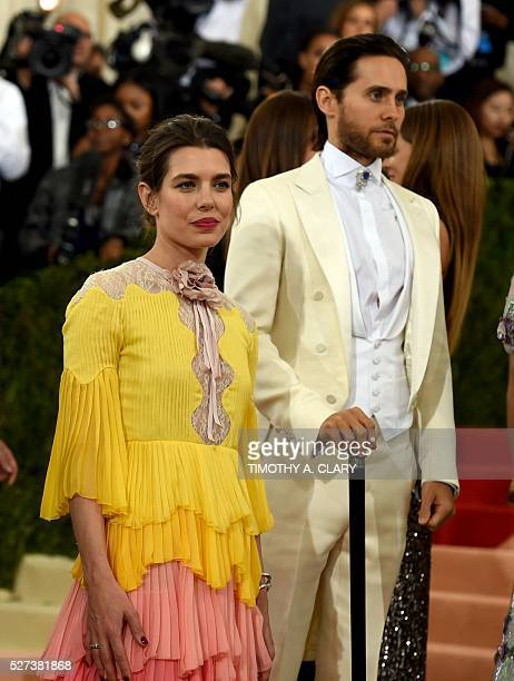 Monaco's Princess Charlotte Casiraghi and Jared Leto arrive for the Costume Institute Benefit at The Metropolitan Museum of Art May 2 2016 in New...