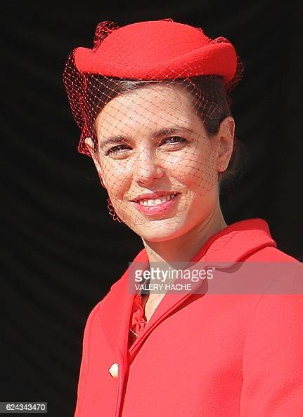 Monaco's Princess Charlotte Casiraghi appears on the balcony of the Monaco Palace during the celebrations marking Monaco's National Day on November...