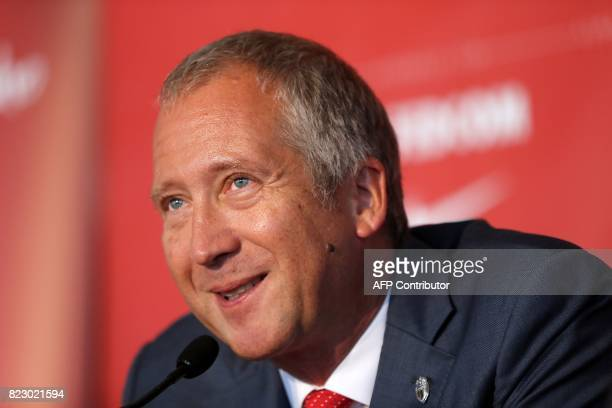 Monaco's Russian club vicepresident Vadim Vasilyev addresses a press conference during the official presentation of new players of the French L1...