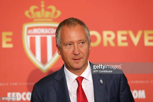 Monaco's Russian club vicepresident Vadim Vasilyev arrives to address a press conference during the official presentation of new players of the...