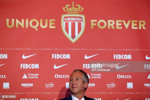 Monaco's Russian club vicepresident Vadim Vasilyev looks on during a press conference for the official presentation of new players of the French L1...