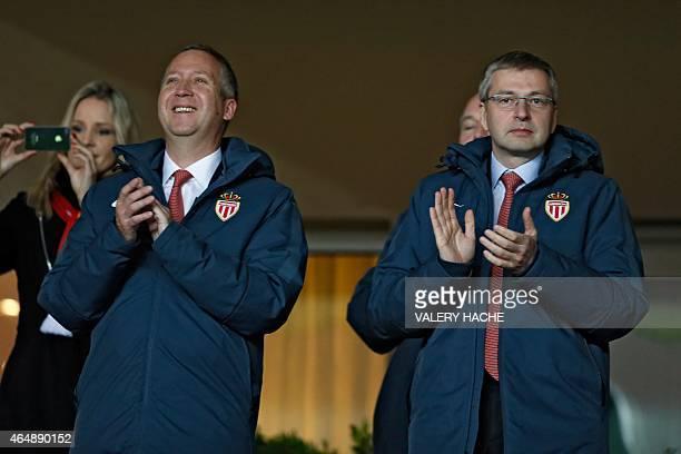 Monaco's Russian president Dmitriy Rybolovlev and vicepresident Vadim Vasilyev attend the French L1 football match Monaco vs Paris SaintGermain on...