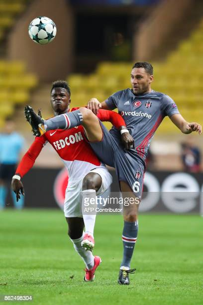 Monaco's Senegalese forward Keita Balde and Besiktas' Serbian defender Dusko Tosic go for the ball during the UEFA Champions League group stage...