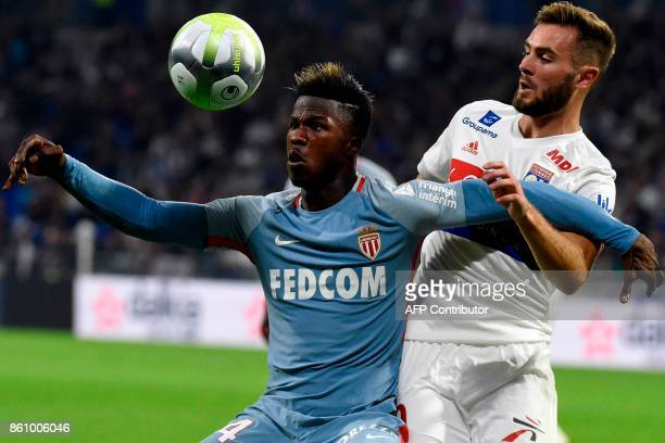 Monaco's Senegalese forward Keita Balde Diao vies with Lyon's French midfielder Lucas Tousart during the French L1 football match between Lyon and...