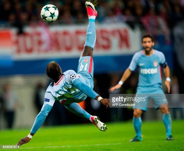 Monaco´s Senegalese forward Keita Balde makes a bycecle kick during the UEFA Champions League group G football match RB Leipzig v AS Monaco in...