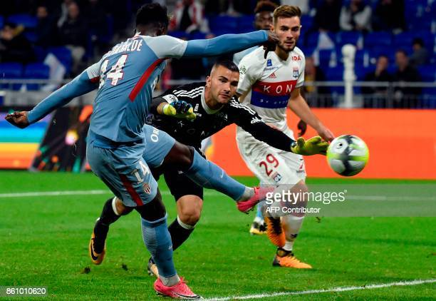 Monaco's Senegalese midielder Keita Balde vies with Lyon's French midfielder Lucas Tousart during the French L1 football match between Lyon and...
