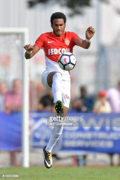 Monaco's Spanish forward Jordi Mboula controls the ball during a friendly football match between AS Monaco and Stoke City FC on July 15 2017 in...