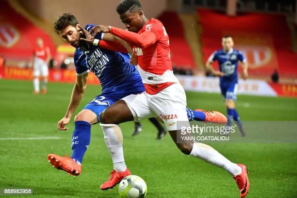 Monaco's Spanish forward Keita Balde controls the ball during the french L1 football match Monaco vs Troyes at The Louis II Stadium in Monaco on...