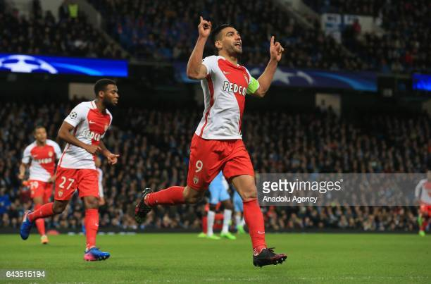 Monaco's striker Radamel Falcao celebrates scoring a goal during the UEFA Champions League Round of 16 soccer match between Manchester City FC and AS...