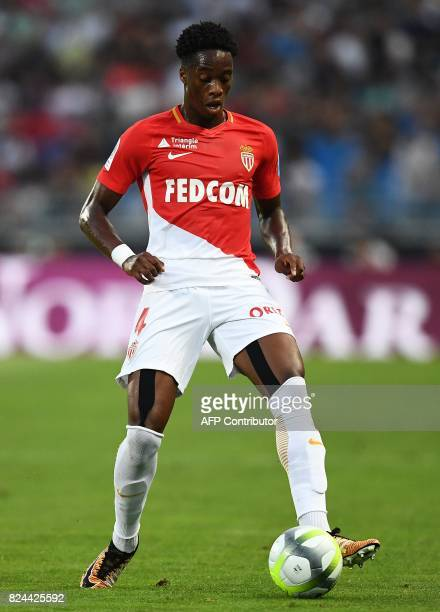 Monaco's Swiss defender Terence Kongolo controls the ball during the French Trophy of Champions football match between Monaco and Paris SaintGermain...