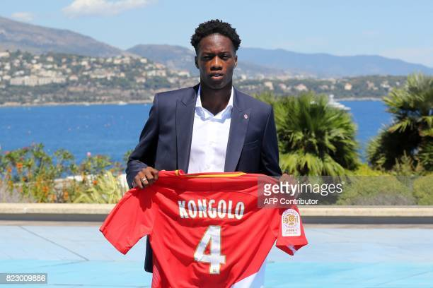 Monaco's Swiss defender Terence Kongolo poses during the official presentation of new players for French L1 football club of Monaco in Monaco on July...