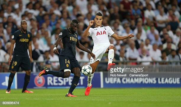 Monaco's Tiemoue Bakayoko and Tottenham Hotspur's Erik Lamela during the UEFA Champions League match between Tottenham Hotspur FC and AS Monaco FC at...