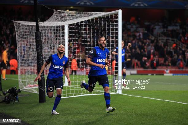 Monaco's Yannick Ferreira Carrasco celebrates scoring his sides third goal of the game