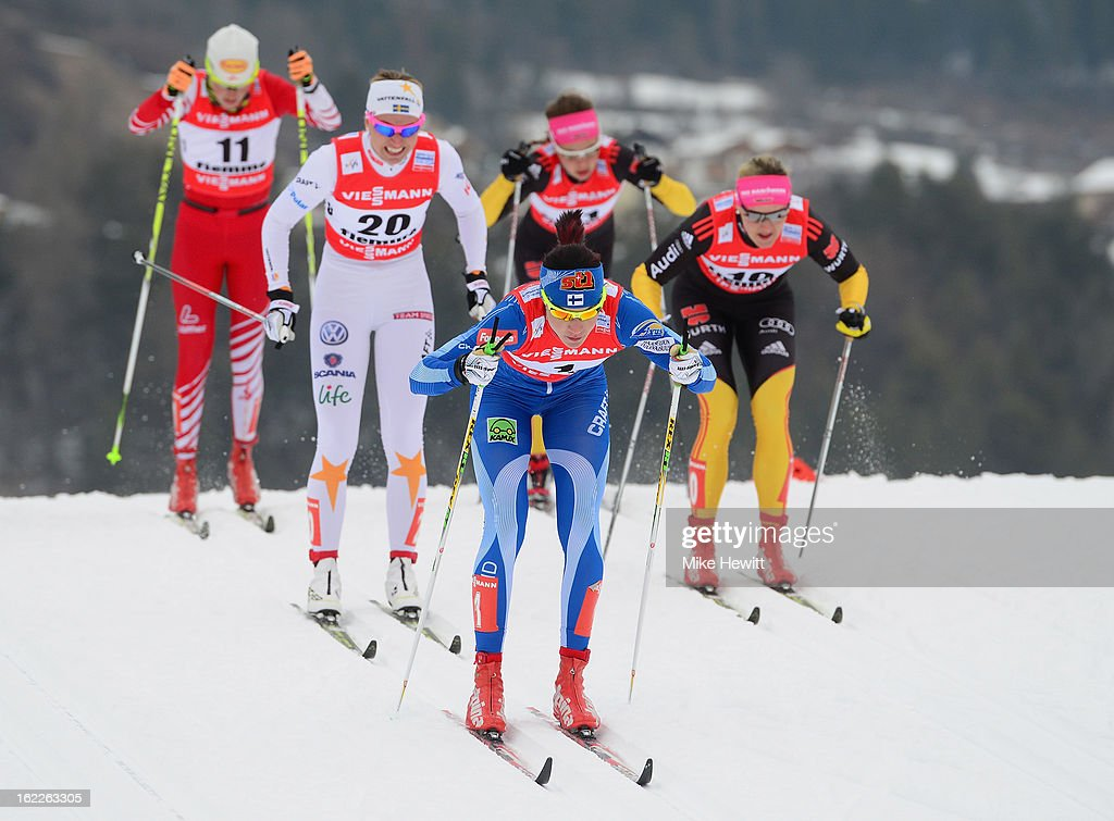 Mona-Lisa Malvalehto of Finland competes during the Women's Cross Country Sprint Semifinals at the FIS Nordic World Ski Championships on February 21, 2013 in Val di Fiemme, Italy.