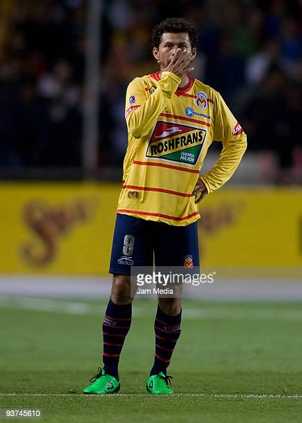 Monarcas Morelia's Miguel Sabah reacts during their semifinals match against Cruz Azul as part of the 2009 Opening tournament in the Mexican Football...
