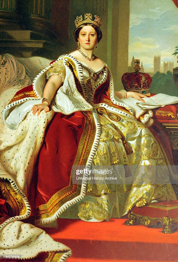 Oil on canvas portrait of a young Queen Victoria. Lived between May 1819 - January 1901. Monarch of the United Kingdom from 20th June 1837 until her death. This painting shows her in lavish layers of robes and material say in front of a window.
