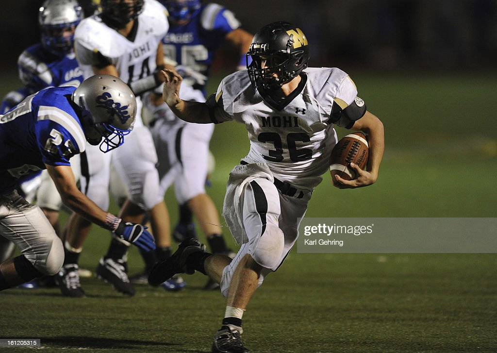 Monarch running back Jared Meschke swept wide in the second half The Monarch High School football team crushed Broomfield Friday night September 16...