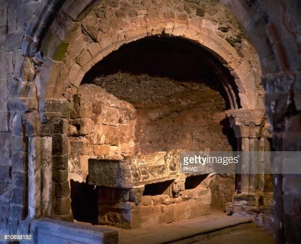 Monastery of Saint Millan de Suso Centuries VI to XI Cenotaph of Saint Millan Sculpture lying of the saint Black alabaster worked in Romanesque style...
