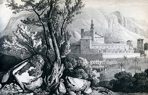 Monastry on Valldemosa Majorca The Carthusian hosted Chopin and G Sand in the winter of 18381839 19th century illustration