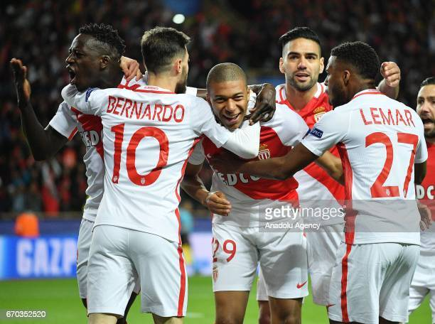 Moncao's Kylian Mbappe celebrates with the team mates Radamel Falcao Fernando and Lemar after scoring a goal during the UEFA Champions League quarter...