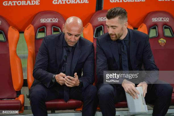 Monchi and Morgan De Sanctis during the Italian Serie A football match between AS Roma and FC Inter at the Olympic Stadium in Rome on august 26 2017