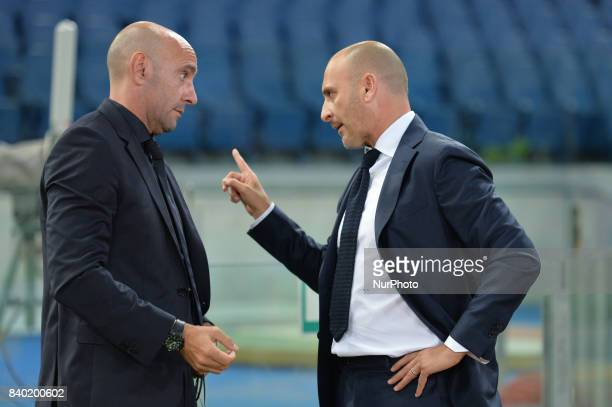 Monchi and Piero Ausilio during the Italian Serie A football match between AS Roma and FC Inter at the Olympic Stadium in Rome on august 26 2017