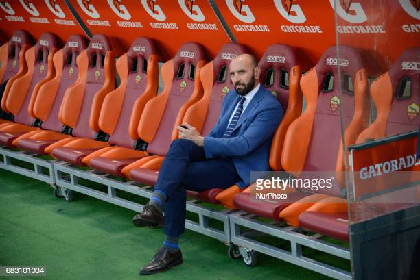 Monchi during the Italian Serie A football match between AS Roma and FC Juventus at the Olympic Stadium in Rome on may 14 2017