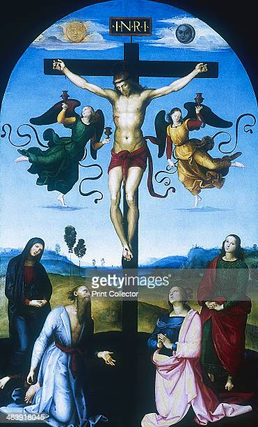 'Mond Crucifixion' c1530 The Virgin Mary and St John the Apostle stand on either side of the cross Figures kneeling in the foreground are St Jerome...
