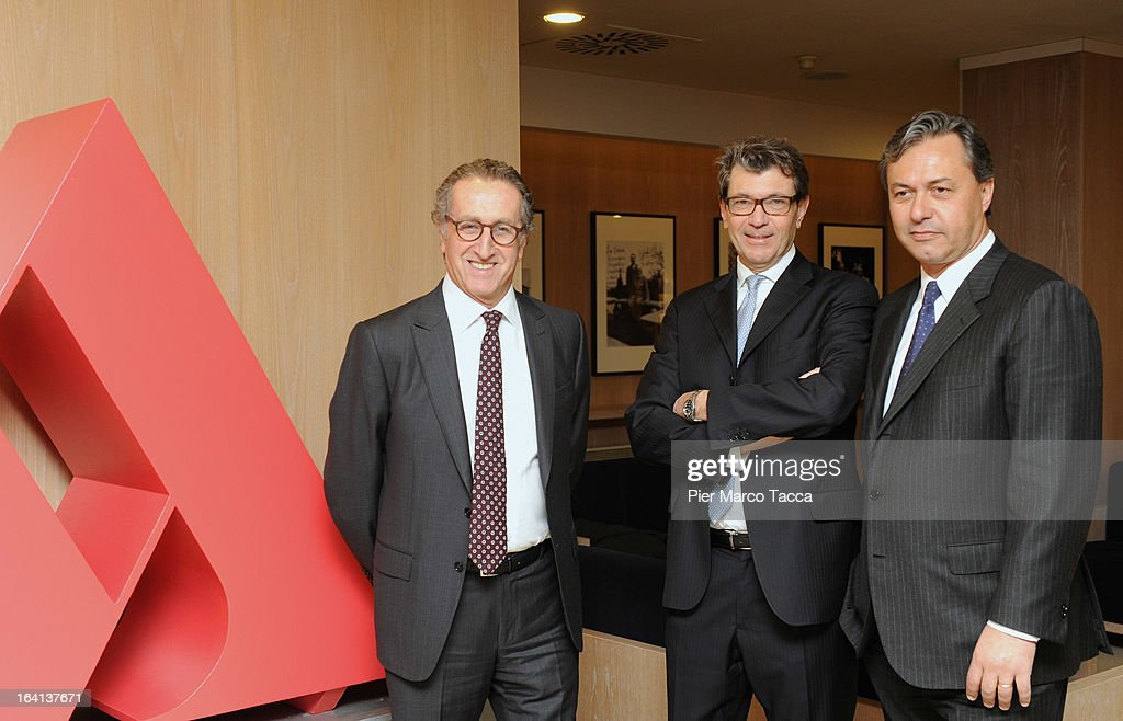Mondadori CEO Ernesto Mauri, Financial Manager Carlo Maria Vismara and Book Trade Director Riccardo Cavallero attend a press conference to announce the publishing company's annual report for 2012 at head office on March 20, 2013 in Segrate, Italy. A meeting of the Board of Directors approved the appointment of Ernesto Mauri as CEO, following Maurizio Costa's resignation in February 2013. Net consolidated revenues to December 31, 2012, were announced at Euros 1.416,1 million; down 6% per cent in comparison to Euro 1,507.2 million in 2011.
