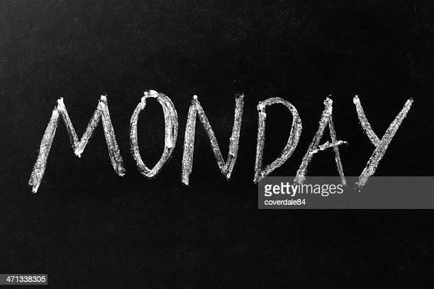 Monday Chalk Text on Blackboard