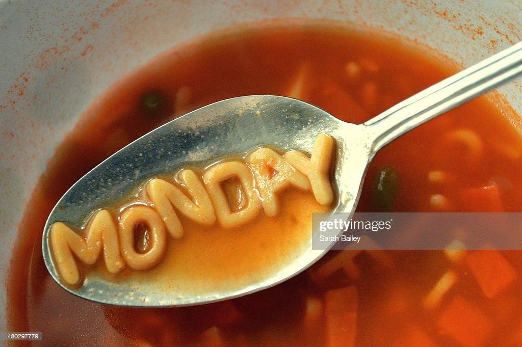 'Monday' letter noodles