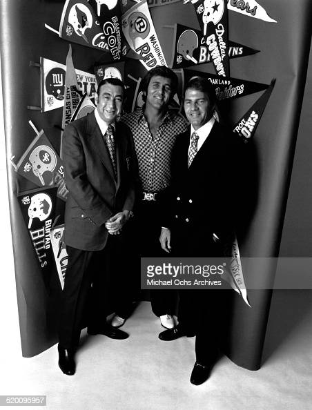 Monday Night Football commentators Howard Cosell Don Meredith and Frank Gifford pose for a portrait circa 1972