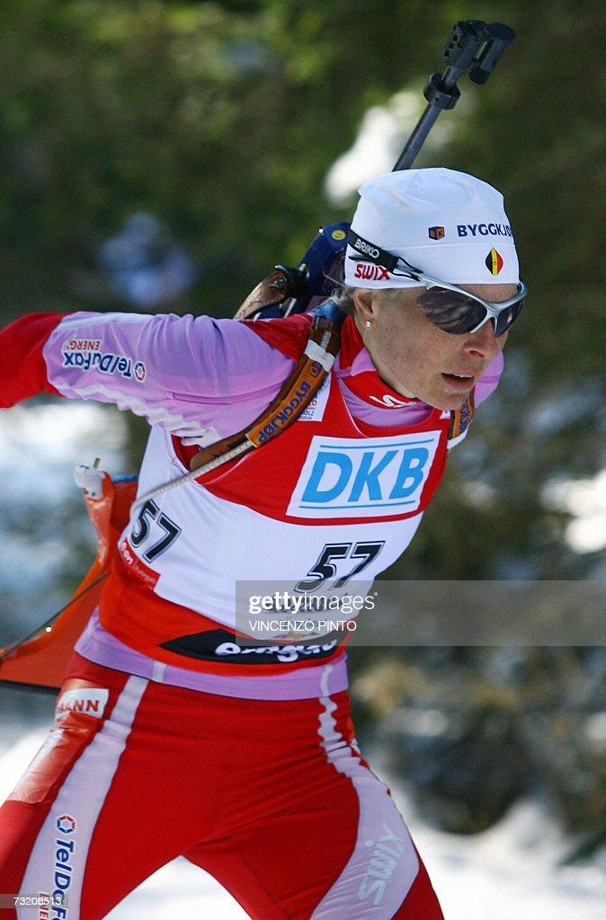 ' Mondiaux-2007 - La Belgique aussi a sa Bjoerndalen' - Nathalie Santer-Bjoerdalen of Belgium competes during Women's 10 km pursuit race of the Biathlon World Championship in Anterselva, 04 February 2007.