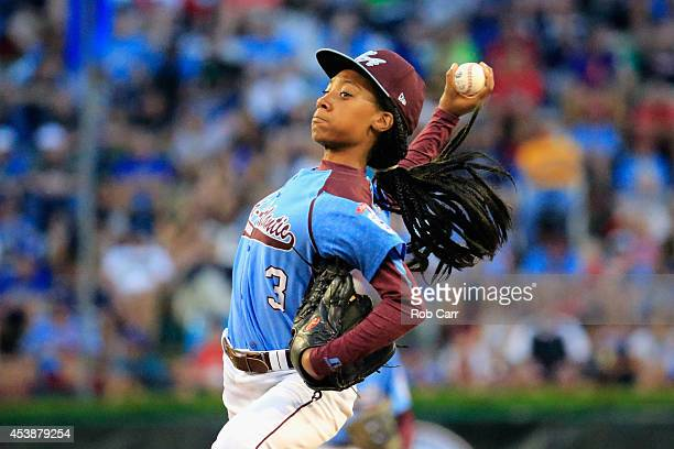 Mo'ne Davis of Pennsylvania pitches to a Nevada batter during the first inning of the United States division game at the Little League World Series...