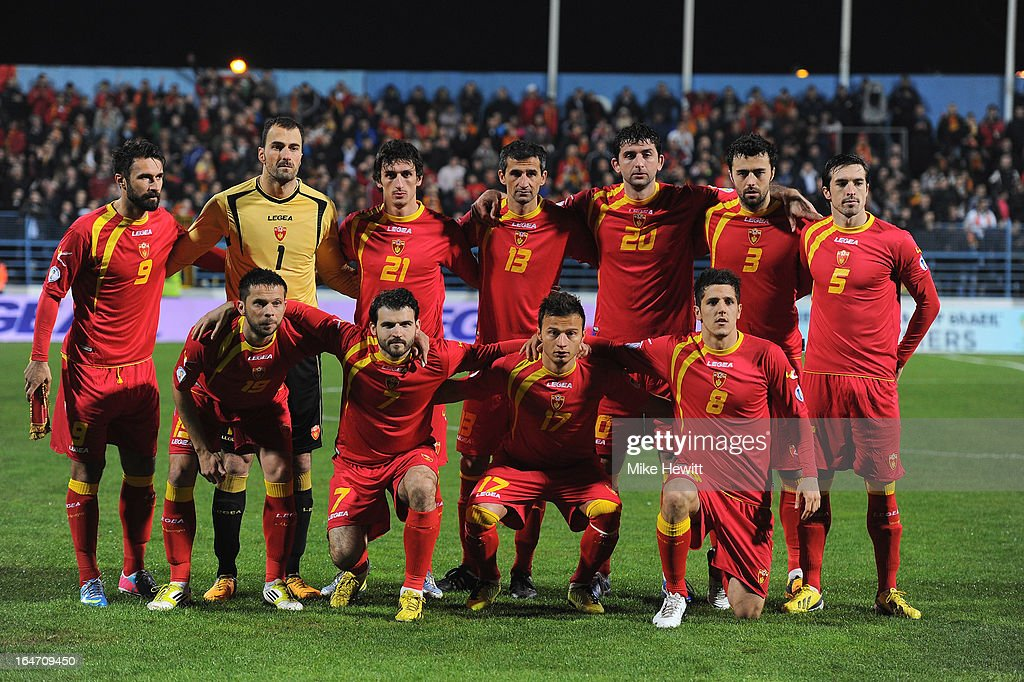 Monenegro pose for a team photo ahead of the FIFA 2014 World Cup Group H Qualifier between Montenegro and England at City Stadium on March 26, 2013 in Podgorica, Montenegro.