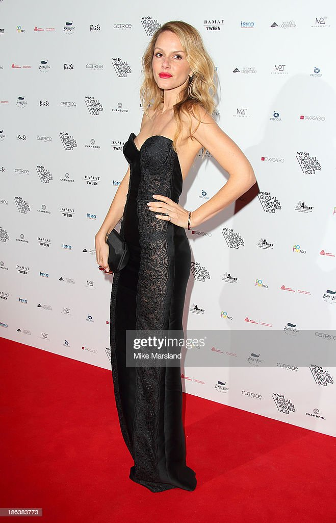 Monet Mazur attends the WGSN Global Fahsion awards at Victoria & Albert Museum on October 30, 2013 in London, England.