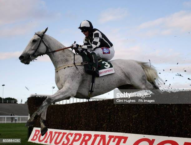 Monet's Garden ridden by Tony Dobbin clears a fence on way to winning The BonusprintCom Old Roan Steeple Chase at Aintree Racecourse