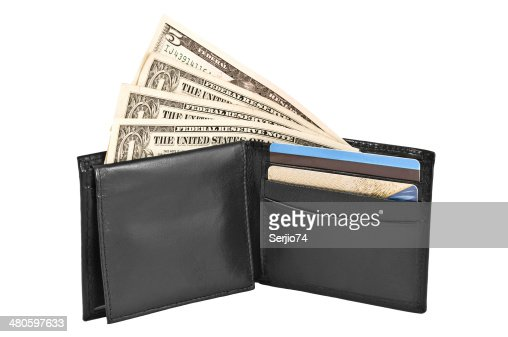 Money and credit cards in black leather purse. : Stock Photo