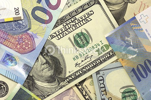 Money Background American Dollars Euro And Swiss Franc Stock Photo