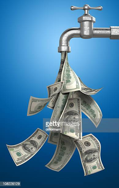 Money Bills Pouring Out of Water Tap on Blue Background