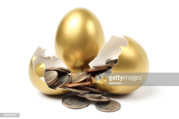 Money Came Out from Gold Egg on White Background